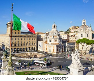 The Churches of Nome di Maria and San Maria di Loreto and Trajan's Column at the Trajan Forum as seen from the Monumento Nazionale a Vittorio Emanuele in Rome, Italy