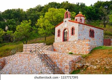 Churches on Palouki hill, Skopelos, Greece