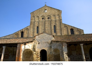 Churches of Santa Maria Assunta (left) and Santa Fosca (right). Torcello Island. Venice Lagoon. Italy