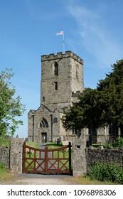 Churchyard gates and tower