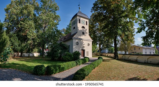 Churchyard and listed village church Berlin-Kladow - panorama from 8 pictures