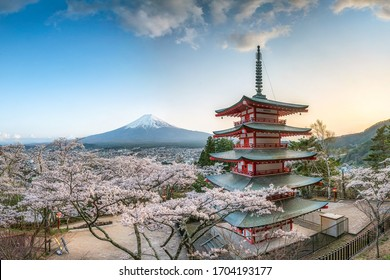 Chureito Pagoda and Mount Fuji with cherry blossom during spring season, Fujiyoshida, Japan