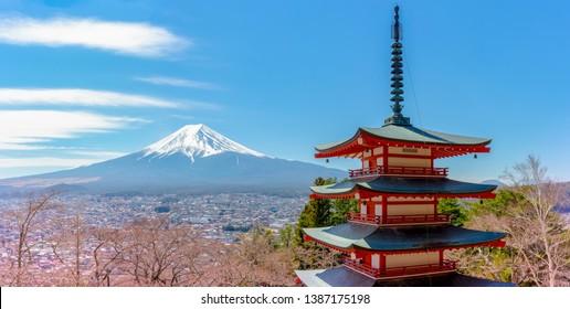 Chureito pagoda and Mountain Fuji, Red Pagoda with Mt Fuji, Fujiyoshida, Japan