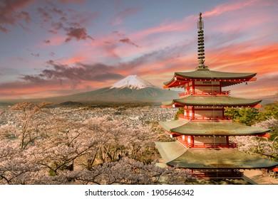 Chureito Pagoda and Mt. Fuji in the spring with cherry blossoms in Fujiyoshida, Shizuoka, Japan