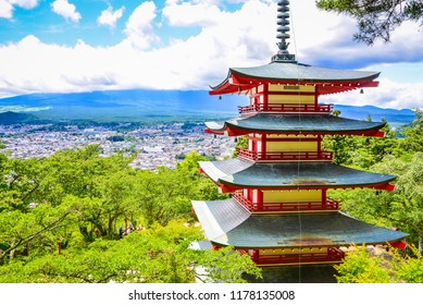 Chureito Pagoda in summer