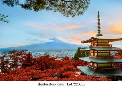 Chureito Pagoda View point at Fujiyoshida with Cloud, fog moving through the Mt. Fuji. Japan.