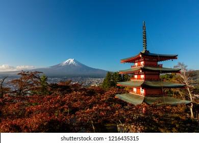 Chureito Pagoda Viewpoint with Mt.Fuji at Arakura sengen shrine