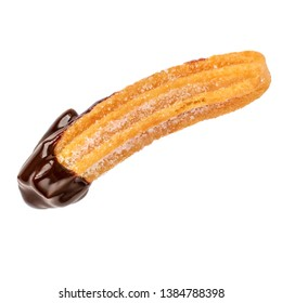 Churro stick with chocolate isolated on white background. Churro - traditional Mexican  dessert.  Close up