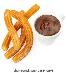 Churros with chocolate cup. Churro - Fried dough pastry with sugar powder isolated on white  background