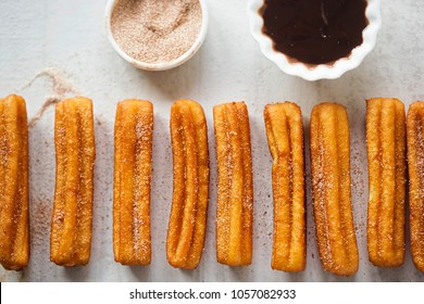Churros with cinnamon sugar and chocolate sauce