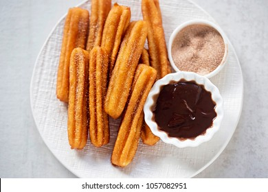 Churros with cinnamon sugar and chocolate sauce