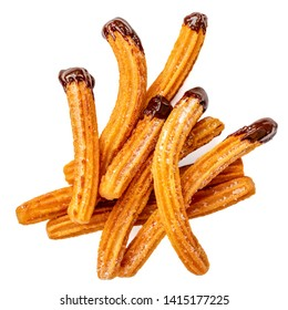 Churros - fried dough pastry with sugar and chocolate sauce dip isolated on a white background. Churro sticks, traditional Spanish snack