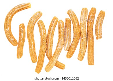 Churros isolated on white background. Traditional spanish cusine. Churros in a row. Top view