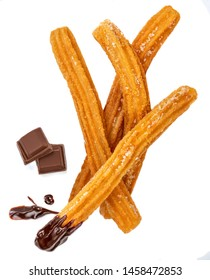 Churros isolated on white background with chocolate chunk. Traditional Mexican  cusine. Churro close up
