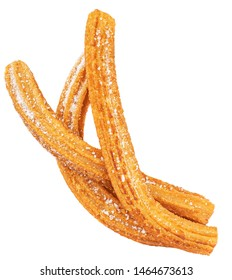 Churros isolated on white background. Traditional spanish snack - churro. Top view