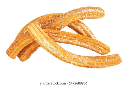 Churros isolated on white background. Mexican cuisine - Churro with sugar, top view