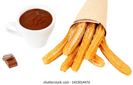 Churros with liquid chocolate. Churro - Fried dough pastry with sugar powder isolated on a white background. Close up