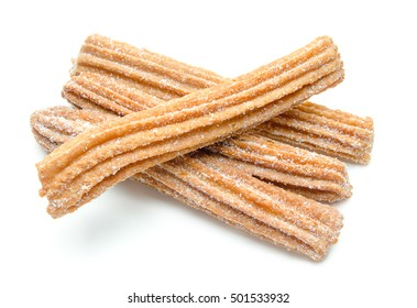 Churros stacked and isolated on white background