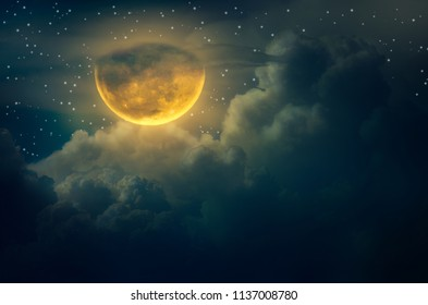 chuseok moon Cloud Big moon floating in the sky with many stars surrounded Halloween