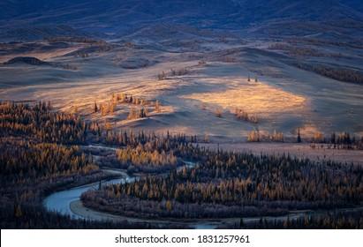Chuya range in autumn, Kurai steppe, Russia, Altai Republic in September