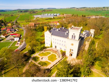 Chyse Chateau is an ancient place, the history of which begins in the 12th century. Aerial view to amazing landmark in Czech Republic. Travel destination for many activities.