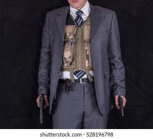 CIA agent, a studio portrait of a security guard, bodyguard, detective, mafia