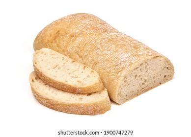 Ciabatta, Italian traditional bread, isolated on white background.