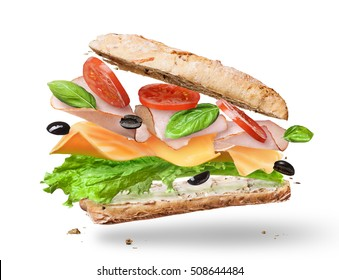 Ciabatta Sandwich with Lettuce, Tomatoes, Ham