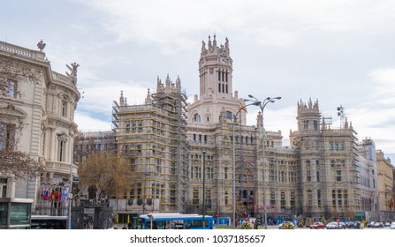 Cibeles Palace in Madrid under construction - MADRID / SPAIN - FEBRUAR 21, 2018