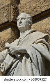Cicero the greatest orator of the Ancient Rome, marble statue in front of the Old Palace of Justice in Rome