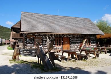 Cicmany, Slovakia - September 10, 2018: Old wooden house in village Cicmany