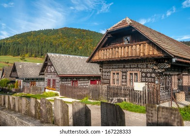 CICMANY, SLOVAKIA - SEPTEMBER 30,2013 - Wooden houses in village Cicmany in Slovakia. It is known as the first folk architecture reserve in the world.