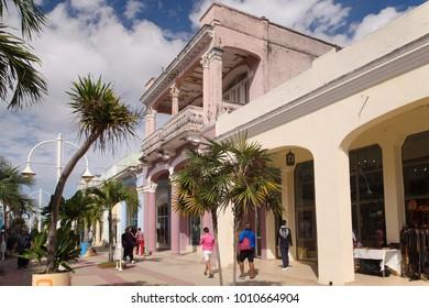 CIEGO DE AVILA, CUBA - 17 JANUARY: Pedestrians stroll the main shopping boulevard in the provincial capital of Ciego de Avila on 17 January 2018.