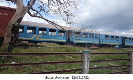 Cienfuegos, Cienfuegos / Cuba - 12.08.2018: Photo of blue train in Cuba.