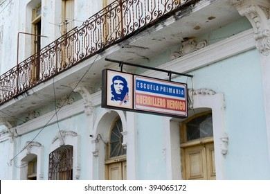 Cienfuegos, Cuba - 18 January 2016: A billboard of a school with an image of Che Guevara in the city of Cienfuegos in central Cuba