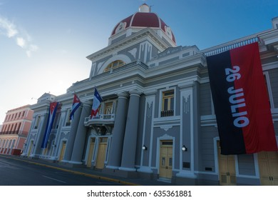 cienfuegos, cuba. City Hall with cuban and part Flags on facade during celebration of 1 january.