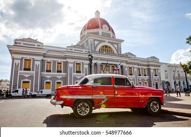 Cienfuegos, Cuba - December 17, 2016: City Hall in Jose Marti Park, the UNESCO World Heritage main square of Cienfuegos, Cuba