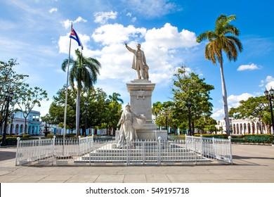 Cienfuegos, Cuba - December 17, 2016: Statue of Jose Marti in the Jose Marti Park, the main square of Cienfuegos (UNESCO World Heritage), Cuba