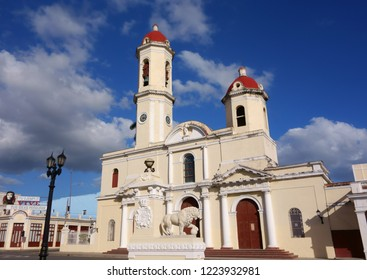 Cienfuegos, Cuba -  December 22, 2013:  Our Lady of the Immaculate Conception Cathedral also known as Cathedral of Cienfuegos captured on a sunny afteroon in downtown Cienfuegos, Cuba.