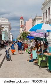 CIENFUEGOS, CUBA - FEBRUARY 11, 2016: Souvenir market in Cienfuegos, Cuba.