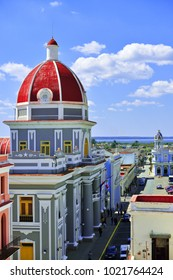 Cienfuegos, Cuba - February 13, 2015. Cienfuegos aerial view (the historical center of the Cienfuegos was listed as a UNESCO World Heritage Site).