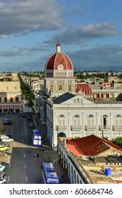 Cienfuegos, Cuba - January 11, 2017: Governor's Palace along the Plaza de Armas in Cienfuegos, Cuba.