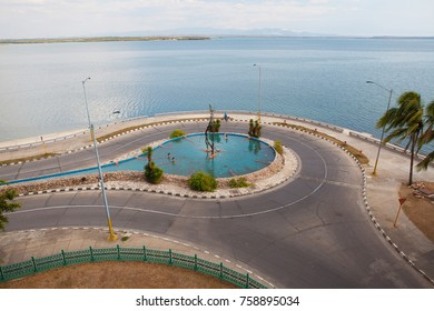 Cienfuegos, Cuba - January 28, 2017: View from Palacio de Valle on amazing fountain at the roundabout.  It is an architectural jewel located in the Punta Gorda, reminiscent of Spanish-Moorish ar