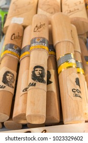 CIENFUEGOS, CUBA - JANUARY 3, 2017: Traditional Cuban cigars with che figure, souvenirs typical for Cuba sold in souvenir shop in street market in Cienfuegos, Cuba