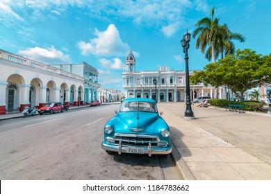Cienfuegos, Cuba - September 16 2017: Main Square in Cienfuegos