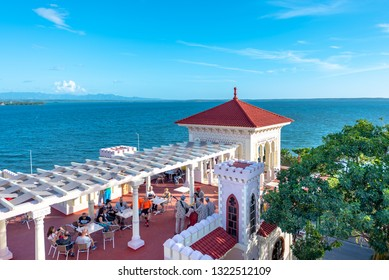 Cienfuegos, Cuba-January 24, 2019: Aerial view of the terrace bar in the 'Valle Palace' which is a Local Monument and a tourist attraction. The famous place has a Moorish architecture
