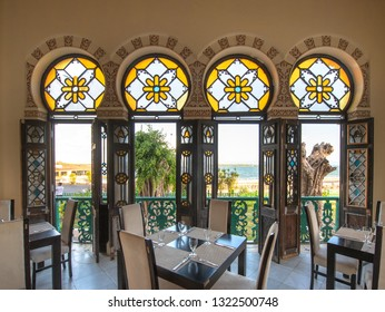 Cienfuegos, Cuba-January 24, 2019: Beautiful interior architecture of the 'Valle Palace' which is a Local Monument and a major tourist attraction. The famous place has a Moorish architecture