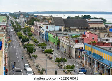 Cienfuegos, Cuba-January 29, 2019:  'El Prado' and its old buildings. Aerial view of the famous place and tourist attraction area. Point of view from a private restaurant in a building terrace.