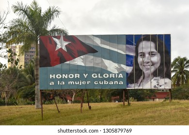 Cienfuegos, Cuba-January 5, 2019:   Vilma Espin image on a road billboard at the entrance of the city. The billboard reads: Honor and Glory to the Cuban Women'