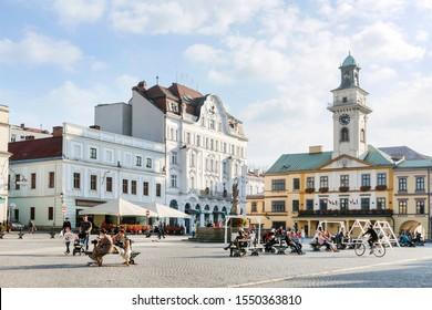 CIESZYN, POLAND - OCTOBER 26,2019: The Main Market Square in Cieszyn, Poland.